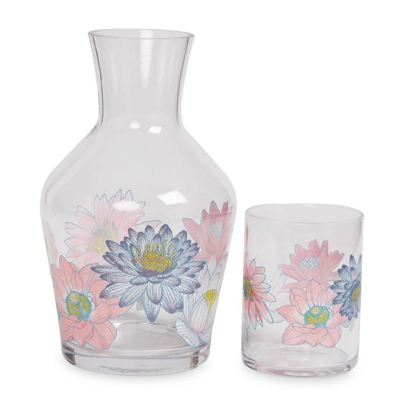 Vaso Y Botella De Cristal Waterlilies