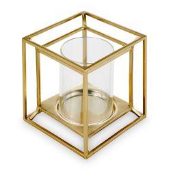 portavelas de diseño en forma de cubo de metal dorado