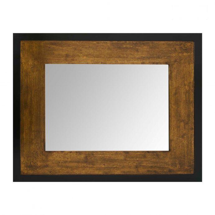 espejo rectangular con gran marco efecto bronce y negro, de diseño actual