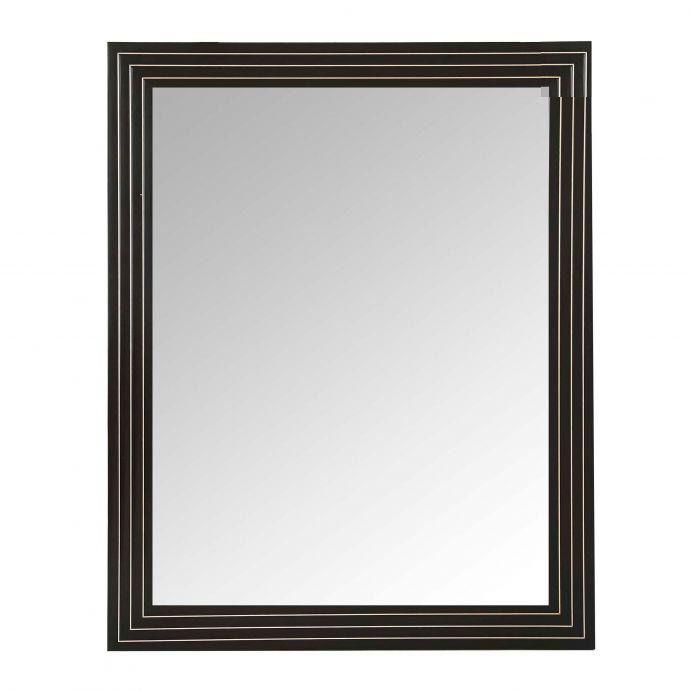 espejo de pared rectangular de madera oscura y detalles en níquel