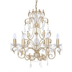 lámpara de techo dorada con lágrimas de cristal, un clasico actual