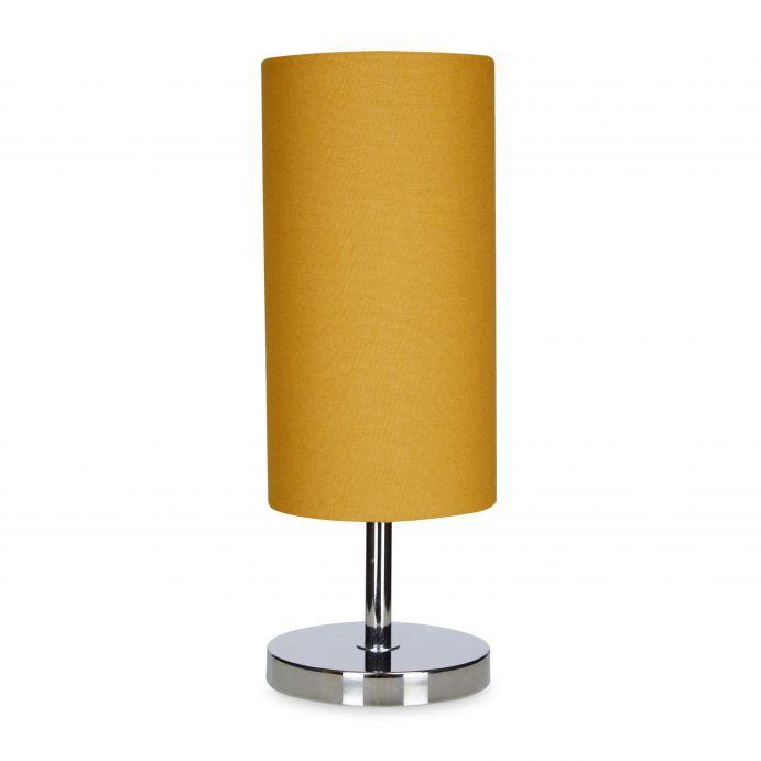 lámpara de mesa en cilindro color miel mostaza de diseño