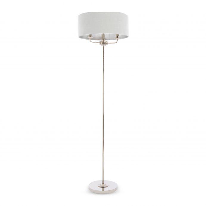 lámpara de suelo de pantalla redonda y diseño de araña, elegante y clásica