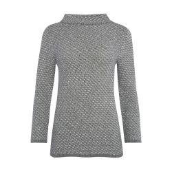 jersey de punto en dos tonos grises y cuello estilo bardot