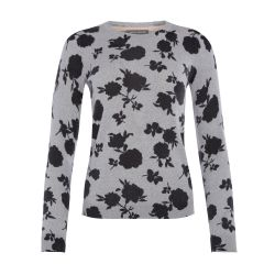 jersey gris de lana merino rosas negras