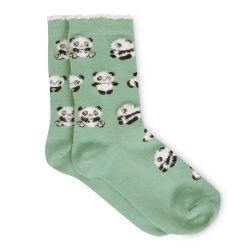 calcetines verdes con pequeños osos pandas de diseño