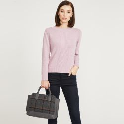 bolso de mano diseño tweed de cuadros gris