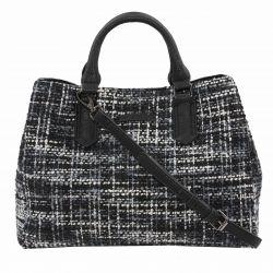 bolso de mano tipo tweed de diseño en gris y negro