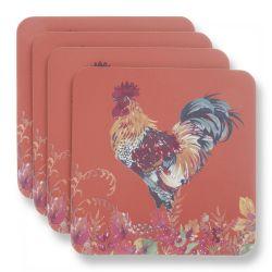 posavasos estampados con gallo de diseño