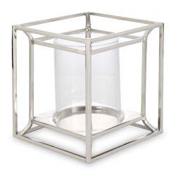 portavelas plateado de cristal y diseño de cubo
