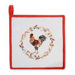 protector de encimera para sartén de tela con diseño de gallos