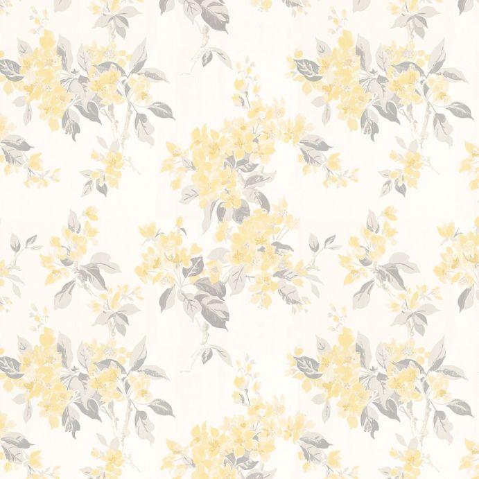 papel pintado estampado con flores amarillas de diseño