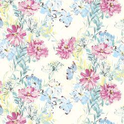 papel pintado estampado con flores de colores de diseño