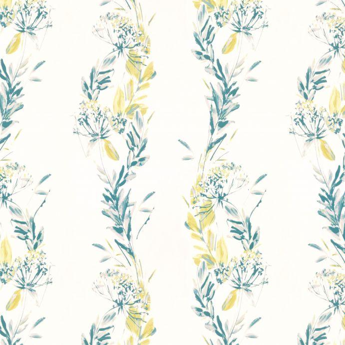 papel pintado estampado cpm guirnalda de flores en tonos verdes , azules y amarillos de diseño