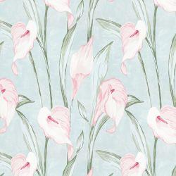 papel pintado estampado con grandes flores de lirios en tonos rosados sobre fondo azul verdoso de diseño