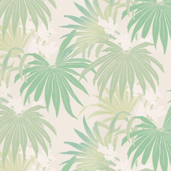 papel pintado de estampado de hojas de palmera de diseño exótico en verde