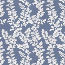 papel pintado estampado con hojas en rama blanca sobre fondo azul de diseño