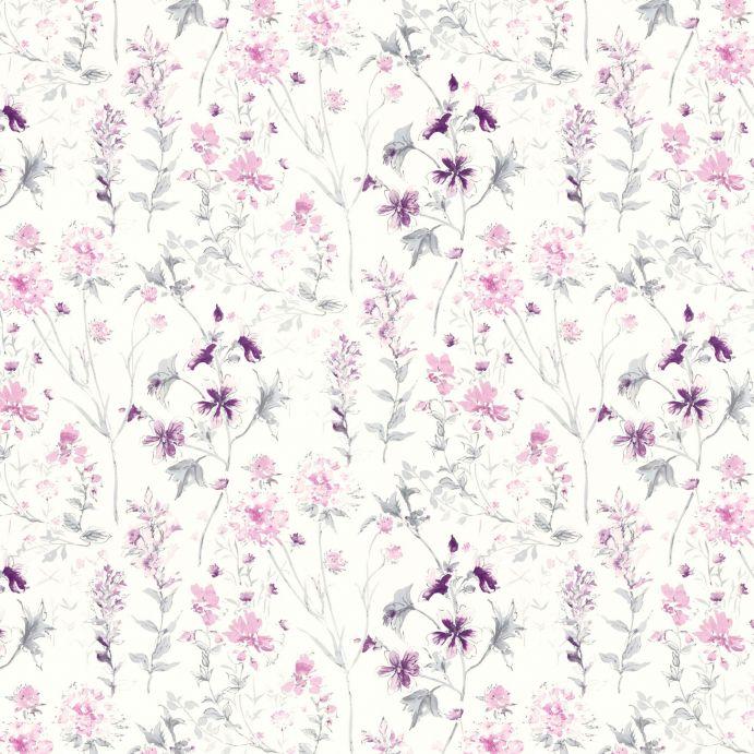 papel pintado estampado con pequeñas flores silvestres en tonos morados de diseño