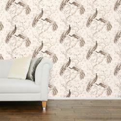 papel pintado estampado con pavos reales en tonos marrones de diseño