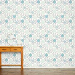 papel pintado estampado con flores de estilo retro en color azul turquesa agua de diseño