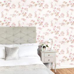 papel pintado estampado con delicadas ramitas en flor en tonos claros de diseño