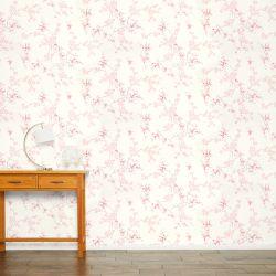papel pintado estampado con pequeñas flores de algodón en tonos rosas