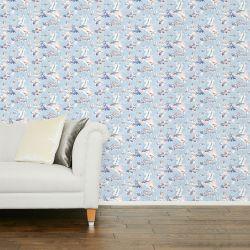 papel pintado estampado con barcos de vela navegando de diseño en azul
