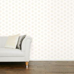papel pintado estampado con topos de diseño en color natural y marrón sobre fondo claro