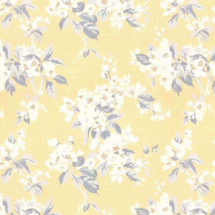 tela de flores blancas y fondo amarillo ideal para cortinas y estores de diseño