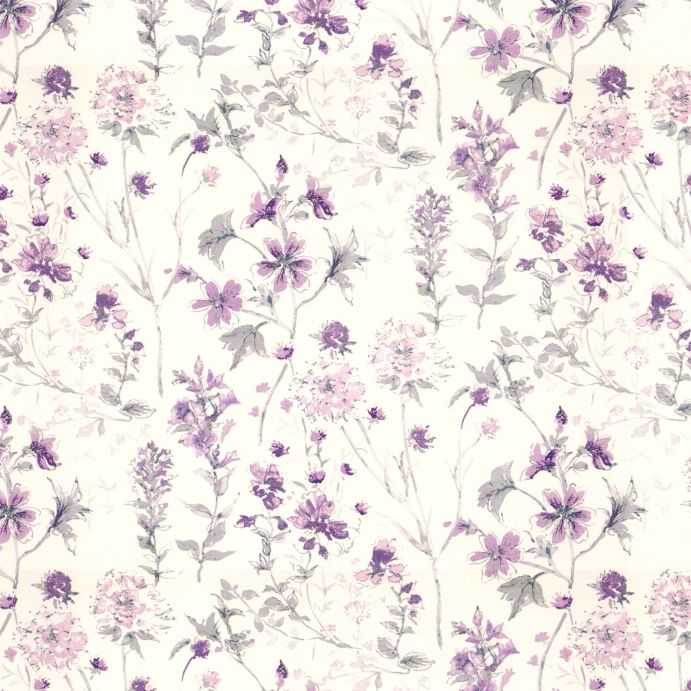 tela de flores moradas ideal para cortinas y estores de diseño