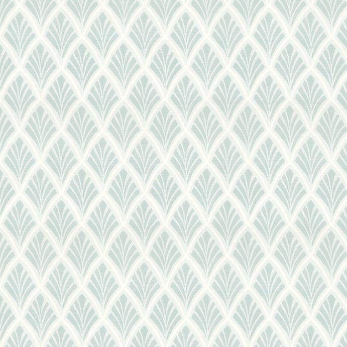 tela de diseño geométrico retro en azul verdoso ideal para cortinas y estores de diseño