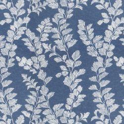 tela azul con flores blancas ideal para cortinas y estores de diseño