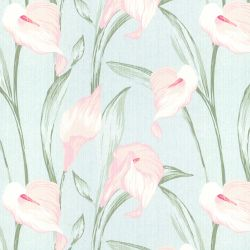 tela de flores lirios en fondo azul ideal para cortinas y estores de diseño