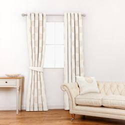 tela estampada con topos tostado ideal para cortinas y estores de diseño