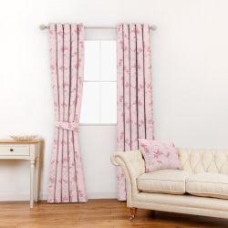 tela rosa bordada con flores pequeñas de estilo oriental ideal para cortinas y estores de diseño