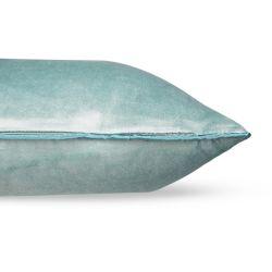 cojín rectangular de terciopelo de color azul verdoso de diseño