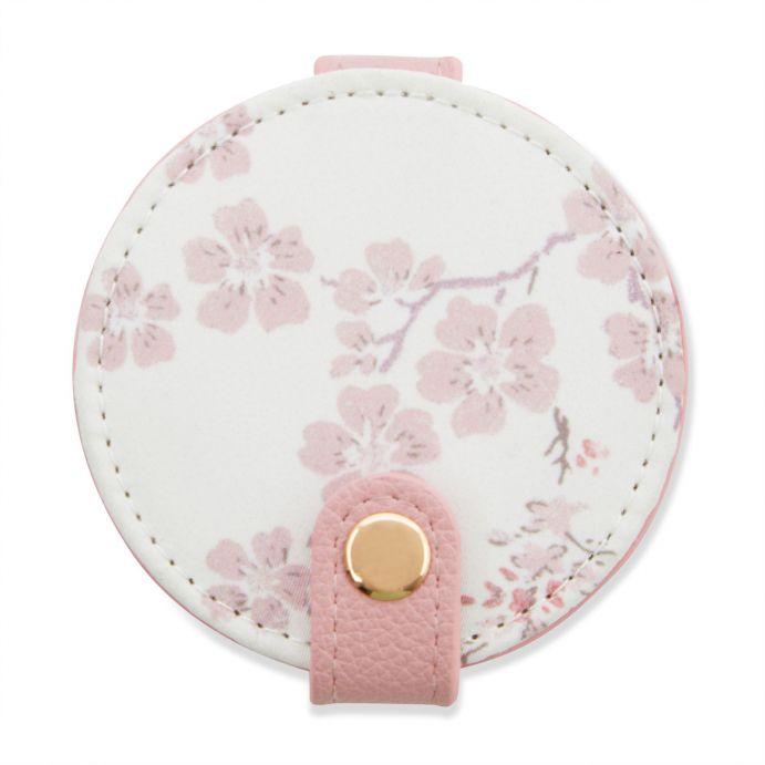 espejo para bolso redondo de diseño de flores rosas