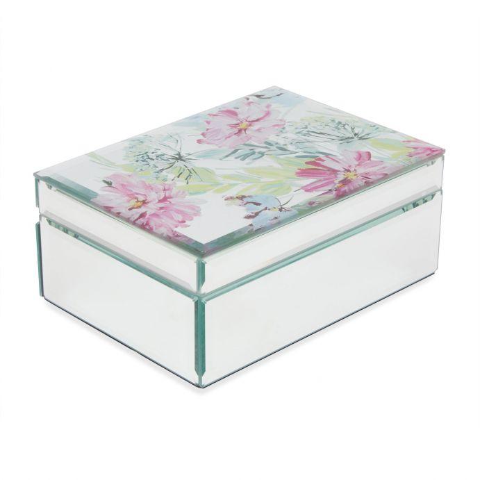 caja joyero en espejo estampado con grandes flores de colores