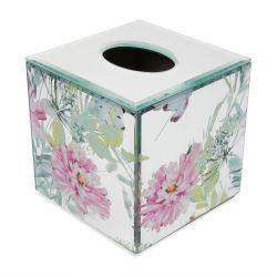 caja de pañuelos en espejo estampado con grandes flores de colores