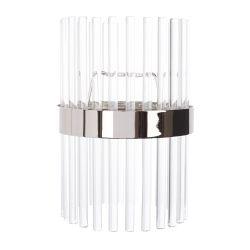 colgante de cristal de diseño con varillas y banda cromada