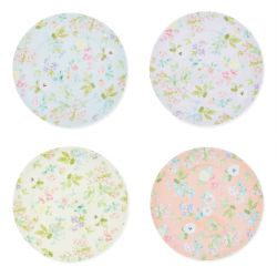 4 platos de melamina estampados con flores de diseño en colores pastel