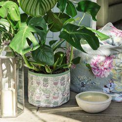 maceta de tela con estampado de plantas suculentas de diseño