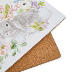 salvamanteles con conejito estampado en color pastel