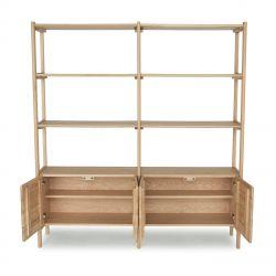 mueble librería estanteria doble de roble de diseño