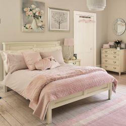 ropa de cama de algodón rosa bordada con flores de diseño