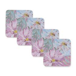 posavasos de corcho cuadrados estampados con flores de colores de diseño