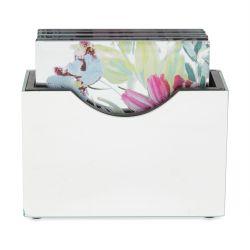 posavasos espejados cuadrados estampados con flores de colores de diseño