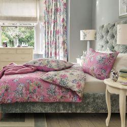 ropa de cama de algodón de calidad estampada con flores de colores en rosa fucsia