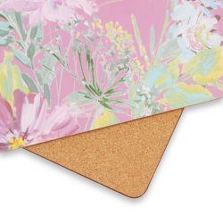 manteles individuales de corcho cuadrados estampados con flores de colores de diseño