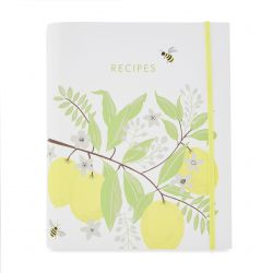 recetario de cartón bonito con limones estampados ideal para regalar